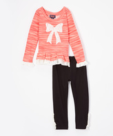 Coral Lace Bow Tunic & Leggings - Toddler & Girls
