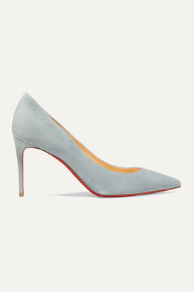 Christian Louboutin Kate 85 Suede Pumps - Gray green