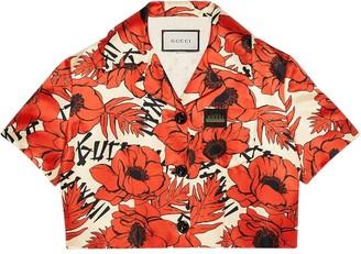 Gucci Poppy Print Cropped Jacket