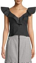 Nanette Lepore Hot Spot Top w/ Ruffle Sleeves