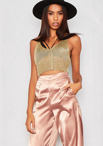 Missy Empire Carmia Gold Metallic Knit Crop Tank