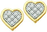Ice Diamond Accented 10K 2-Tone Gold Heart Shaped Cluster Stud Earrings