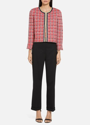 St. John Metallic Plaid Knit Cropped Jacket