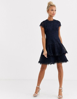 Forever New flippy hem lace mini dress in navy