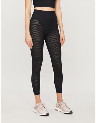 Adam Selman Sport French Cut animal-print high-rise stretch-mesh leggings