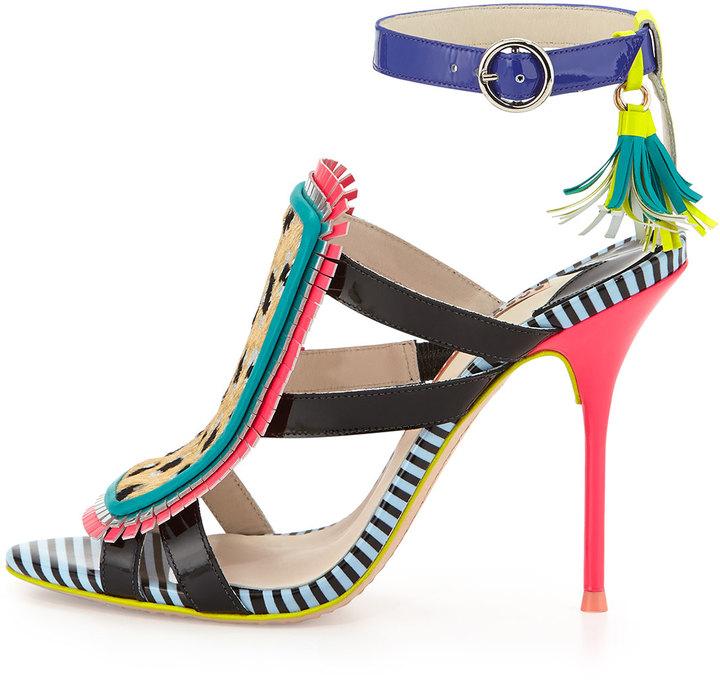 Webster Sophia Marissa Calf Hair Fringe Sandal, Tropical Leopard