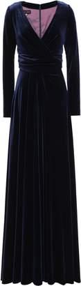 Talbot Runhof Wrap-effect Velvet Gown