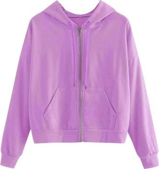 Goul Women's Zip Up Crop Hoodie with Pockets Teen Girls Lightweight Novelty Long Sleeve Crop Tops Hooded Sweatshirt Blue