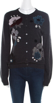Dolce & Gabbana Grey Embellished Floral Applique Detail Cashmere Cardigan M