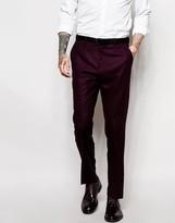 Asos Slim Wool Rich Suit Trouser In Purple