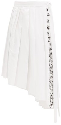Rochas Asymmetric Pleated Sequinned Cotton-poplin Skirt - White