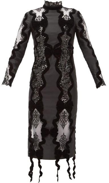 Erdem Deletta Lace-insert Velvet And Sequin Fitted Dress - Womens - Black