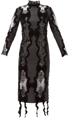 Erdem Deletta Lace-insert Velvet And Sequin Fitted Dress - Womens - Black