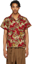 Naked & Famous Denim Denim Denim Red Japanese Tigers Aloha Shirt