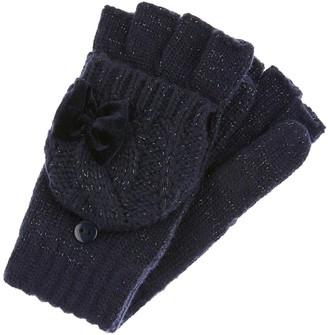 Monsoon Girls Recycled Sparkle Velvet Bow Gloves - Navy