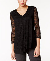 Alfani Petite Burnout Ruffled Top, Only at Macy's