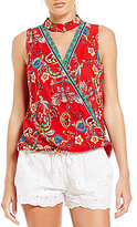 I.N. San Francisco Choker Neck Floral-Print Top