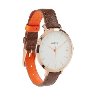 Auree Jewellery Montmartre Rose Gold Watch With Chestnut Brown & Orange Strap