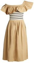 Sea Ruffled one-shoulder cotton midi dress