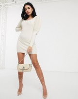 Asos DESIGN square neck ripple stitch volume sleeve knit mini dress