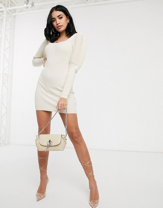 Asos Design DESIGN square neck ripple stitch volume sleeve knit mini dress