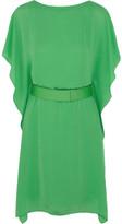 Halston Heritage Belted satin-crepe dress