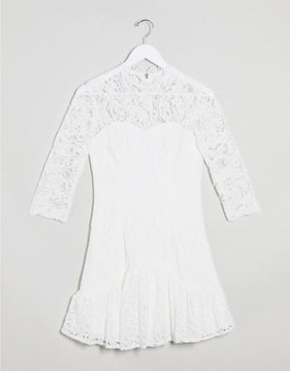 Chi Chi London flippy lace skater in white