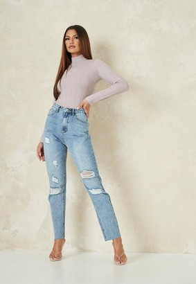 Missguided Tall Light Blue Straight Leg Distressed Jeans