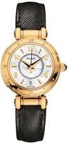 Balmain Women's Haute Couture 29mm Black Leather Band Gold Plated Case Quartz MOP Dial Watch B3710.32.84