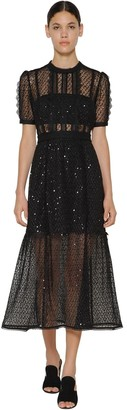 Self-Portrait Long Sequined Chiffon & Lace Midi Dress