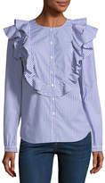 Veronica Beard Asher Crewneck Button-Front Long-Sleeve Poplin Top