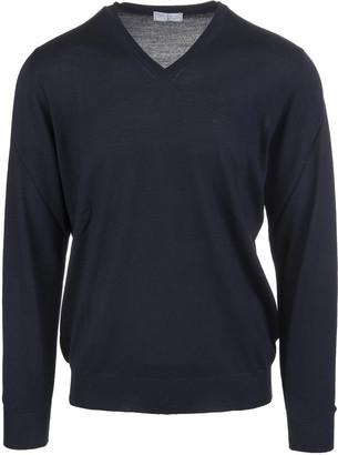 Fedeli Night Blue V-neck Man Pullover