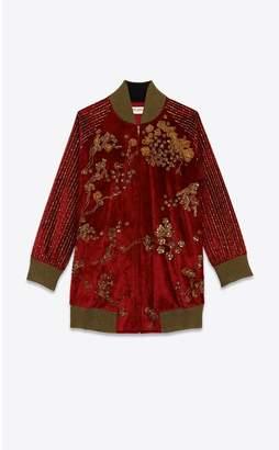 Saint Laurent Embroidered Long Panne Velvet Varsity Jacket