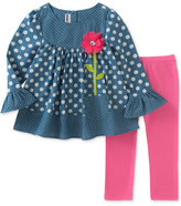 Kids Headquarters 2-Pc. Dot-Print Chambray Tunic and Leggings Set, Baby Girls (0-24 months)
