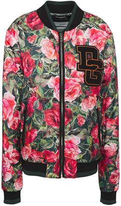Dolce & Gabbana Appliqued Floral-print Shell Bomber Jacket