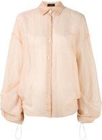 Joseph sheer drawstring detail shirt - women - Cotton/Silk - 40