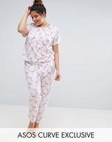 Asos Flamingo Print Tee & Pajama Pant Set
