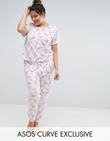 Asos Flamingo Tee & Legging Pajama Set