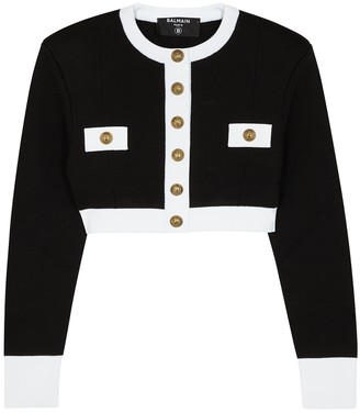 Balmain Monochrome Cropped Knitted Jacket