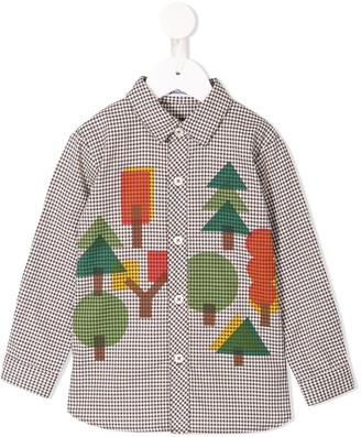 Familiar forest print check shirt