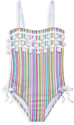 Stella Cove Little Girl's & Girl's Striped Rainbow Pom-Pom Swimsuit