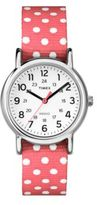 Timex Ladies Weekender Silvertone and Fabric Strap Watch