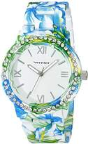 Vernier Women's VNR11168TRB White Floral and Rhinestone Watch