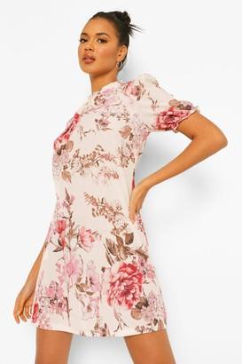 boohoo Floral High Neck Shift Dress