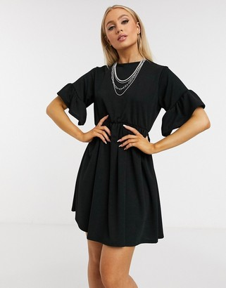 Ok Girl smock t-shirt dress in black