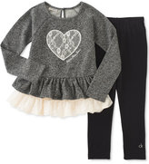 Calvin Klein Baby Girls' 2-Pc. Heart Peplum Tunic & Leggings Set