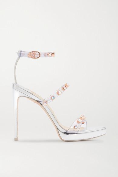 Sophia Webster Rosalind Crystal-embellished Pvc And Metallic Leather Platform Sandals - Silver