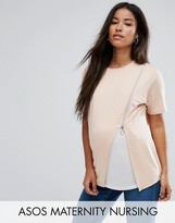 Asos NURSING Zip Side Drape T-Shirt