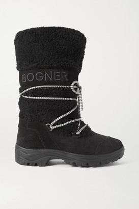 Bogner Alta Badia Embroidered Suede And Shearling Snow Boots - Black