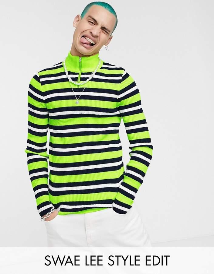 c42e10ea39d Design DESIGN knitted half zip jumper in neon stripe